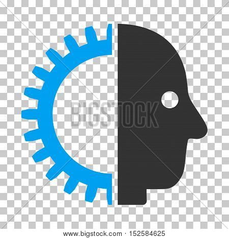 Blue And Gray Cyborg Head interface pictogram. Vector pictogram style is a flat bicolor symbol on chess transparent background.