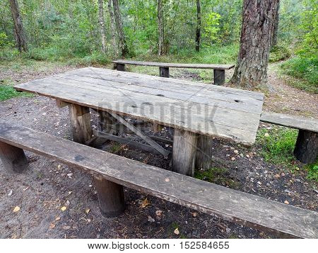 The wooden benches and the wooden table in a forest
