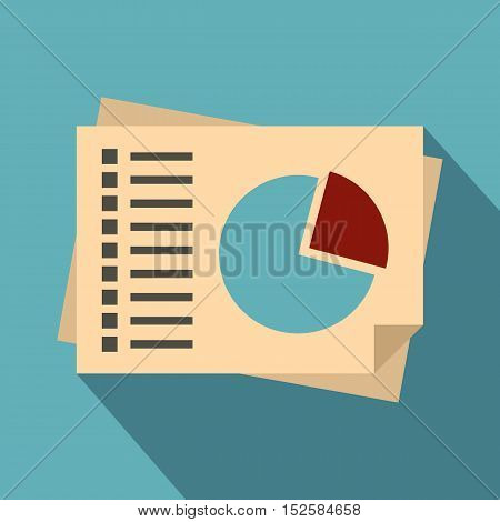 Financial papers icon. Flat illustration of financial papers vector icon for web isolated on light blue background