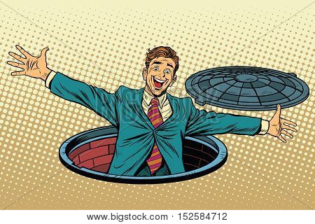 joyful man in the manhole. pop art retro vector illustration