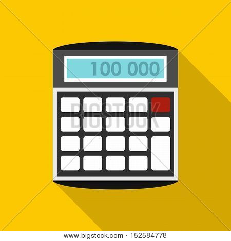 An electronic calculator icon. Flat illustration of calculator vector icon for web isolated on yellow background