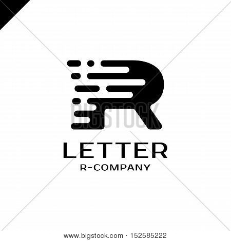 Abstract Letter R Logo Design Template. Dynamic Vector Unusual Font. Universal Fast Speed Fire Movin