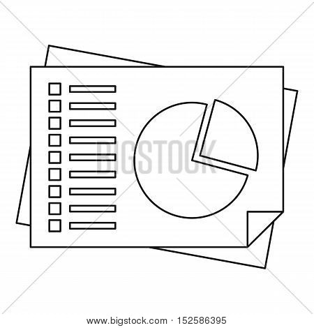 Sheets of paper with charts icon. Outline illustration of sheets of paper with charts vector icon for web