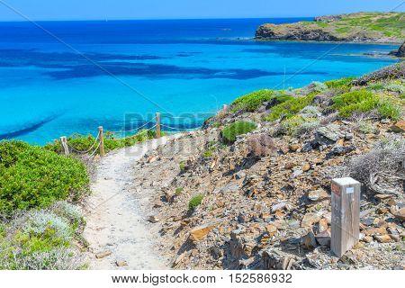 Camino de Caballos (Cami de Cavalls) - famous pathway around Menorca island, Balearic islands, Spain. poster