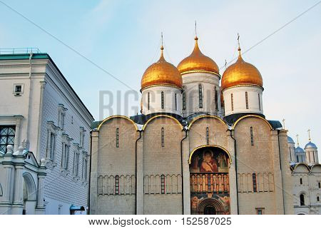 Dormition cathedral and Faceted Chamber of Moscow Kremlin. UNESCO World Heritage Site. Color photo.
