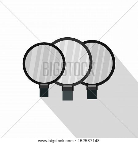 Magnified lenses icon. Flat illustration of magnified lenses vector icon for web isolated on white background