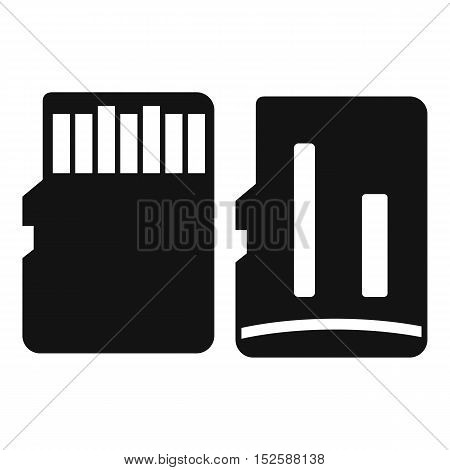 Both sides of SD memory card icon. Simple illustration of SD memory card vector icon for web