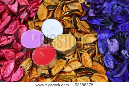 colorful of potpourri with candles. (soft focus,lens blur)