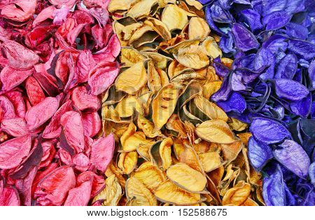 close up from colorful of potpourri vintage.