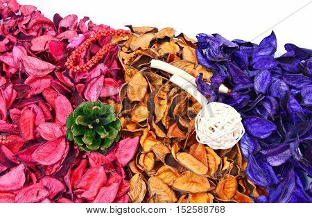 close up from colorful of potpourri with white background