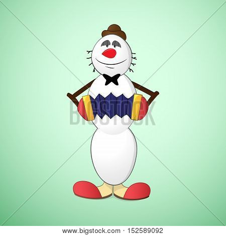 Snowman clown in hat and funny boots playing accordion
