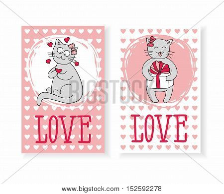 Vector Illustration: Cards with cute kitten and hearts