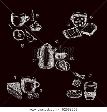 Vector set of some chalky coffee sketches on a black board. Design element for catering service, recipe books, trendy image for sites and blogs, illustration for coffee theme.