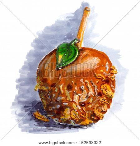 Marker sketch of coated caramel apple. Dessert on wooden stick with walnut chocolate coconut, taffy. Gray shadow. Isolated on white background. Hand drawing on paper.