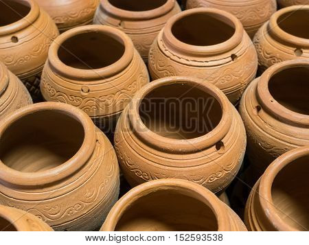 Pottery craft ceramic clay arranged to be burned.