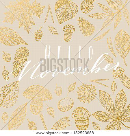Vector hand drawn calligraphic phrase Hello November. Elegant autumn card, poster.