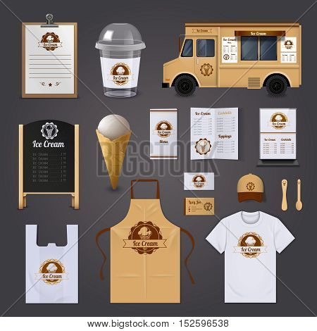 Ice cream corporate identity realistic design icons set on grey background isolated vector illustration