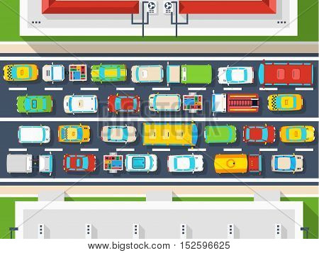 Top view poster of traffic jam in city with many different vehicles on road flat vector illustration