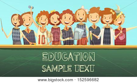 Timetable title template cartoon poster for primary education elementary school with smiling kids and chalkboard vector illustration