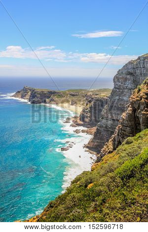 Aerial view of the Cape of Good Hope and Dias Beach from the hith overlook of Cape Point. Cape Peninsula in Table Mountain National Park, South Africa.