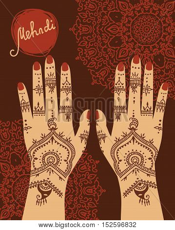 Element yoga mudra hands with mehendi patterns. Vector illustration for a yoga studio, tattoo, spas, souvenirs. Indian traditional lifestyle.