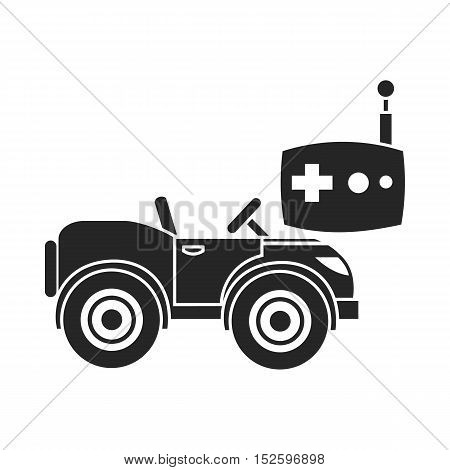 RC car icon in black style isolated on white background.  vector illustration.