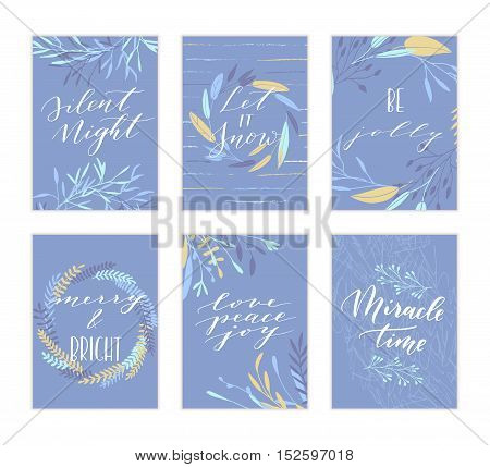 Vector hand drawn modern cards. Trendy hand written calligraphy postcard. Elegant calligraphic quotes and phrases. Silent night. Let it snow. Be jolly. Merry and Bright. Love peace joy. Miracle time.