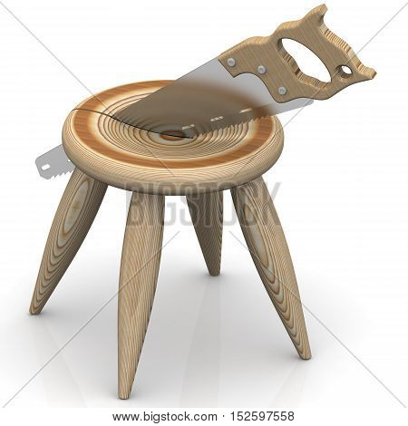 Division of Property. Wooden stool is cut with a hacksaw. The concept of the division of property. Isolated. 3D Illustration