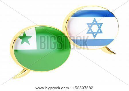 Speech bubbles Israeli-Esperanto conversation concept. 3D rendering