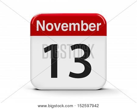 Calendar web button - The Thirteenth of November - World Kindness Day and International Day of the Blind three-dimensional rendering 3D illustration