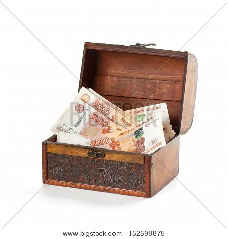 More russian money roubles in small wooden chest.