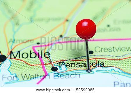 Pensacola pinned on a map of Florida, USA
