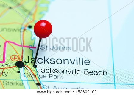 Jacksonville Beach pinned on a map of Florida, USA