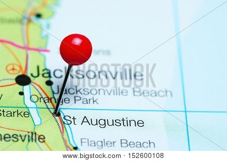 St Augustine pinned on a map of Florida, USA