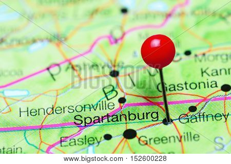 Spartanburg pinned on a map of South Carolina, USA
