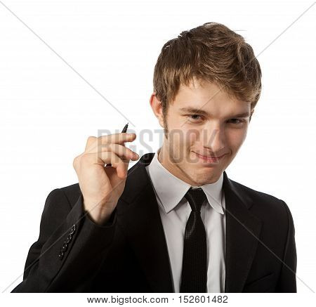 Man with a pen in a hand