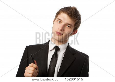 young business man in a suit erectile