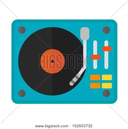 Dj music equipment and music mixer equipment. nightclub mixing turntable volume disc control.