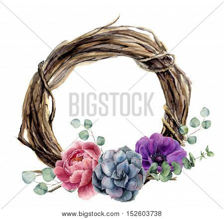Watercolor hand painted floral wreath of twig. Wood wreath with baby eucalyptus, silver dollar eucalyptus branch, peony, anemone flower and succulent. Flower illustration for design and background.