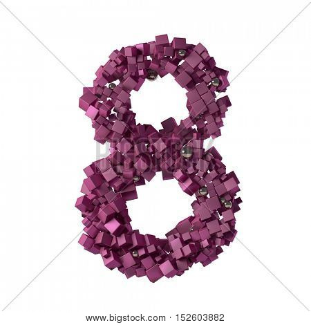 numbers from cubes, 8, eight,3d illustration