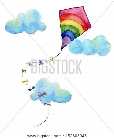 Watercolor print with rainbow air kite and clouds. Hand drawn vintage kite with flags garlands and retro design. Illustrations isolated on white background.