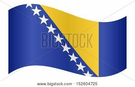 Bosnian and Herzegovinian national official flag. Patriotic symbol banner element background. Correct colors. Flag of Bosnia and Herzegovina waving on white background vector illustration