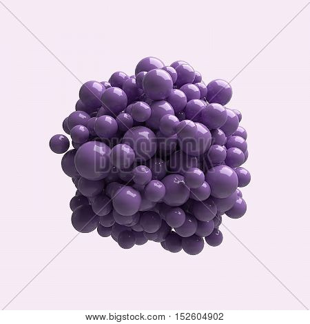 Lots of purple spheres of different sizes with plastic reflections are grouped in the center isolated on a colored background. Abstract background wallpaper. 3d illustration