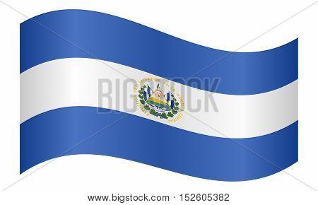 Salvadoran national official flag. Patriotic symbol banner element background. Correct colors. Flag of El Salvador waving on white background vector illustration