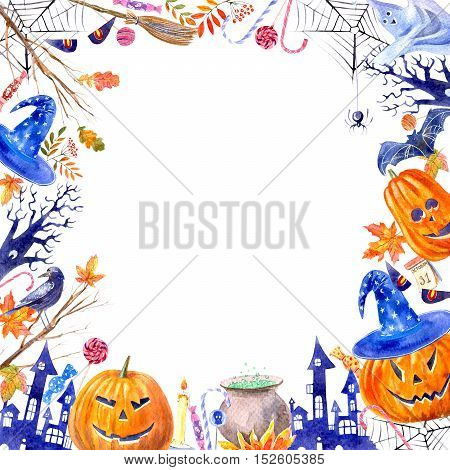 frame with pumpkin jack-o'-lantern, lollipop,broom,magic hat,ghost,candle,castle,web,bat,spider,tree,autumn leaves and candy.halloween border.watercolor hand drawn illustration.white background.