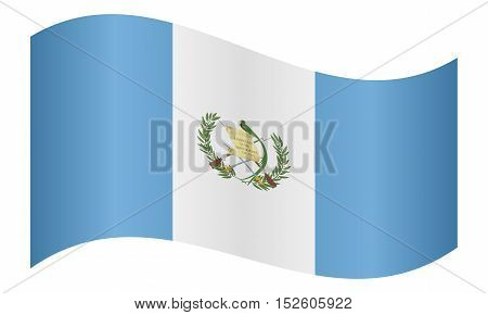 Guatemalan national official flag. Patriotic symbol banner element background. Correct colors. Flag of Guatemala waving on white background vector illustration