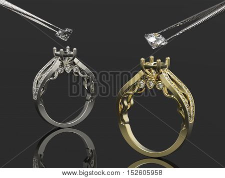 Vintage 3d golden and silver rings, a diamonds in tweezers
