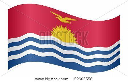 Kiribati national official flag. Patriotic symbol banner element background. Correct colors. Flag of Kiribati waving on white background vector illustration