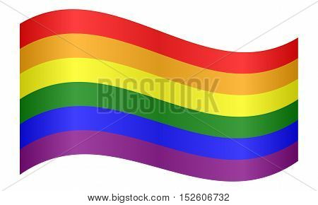 Rainbow gay pride flag. Symbol of LGBT movement. Gay banner element background. Correct colors. Rainbow flag waving on white background vector illustration