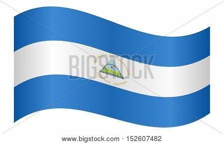 Nicaraguan national official flag. Patriotic symbol banner element background. Correct colors. Flag of Nicaragua waving on white background vector illustration